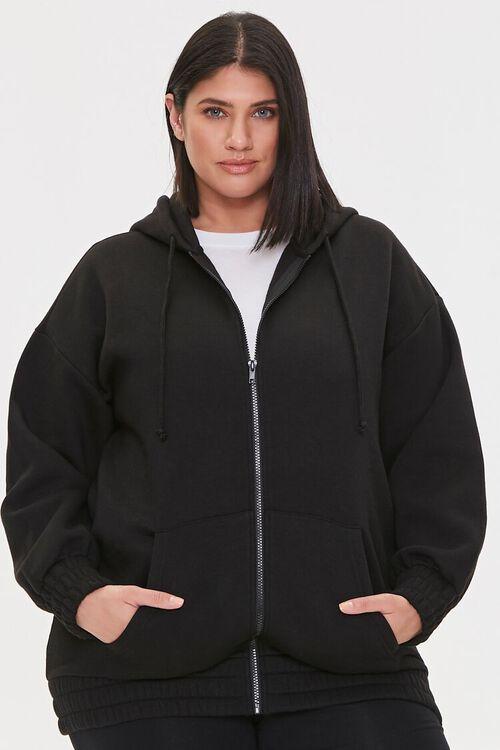 Plus Size Fleece Zip-Up Hoodie, image 2