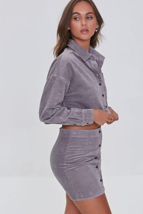 GREY Corduroy Shirt & Mini Skirt Set, image 2