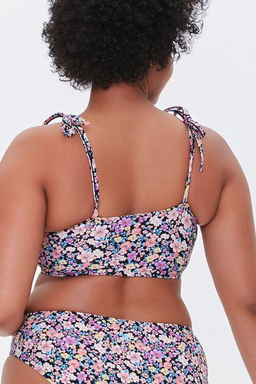 Plus Size Floral Print Self-Tie Bikini Top, image 3