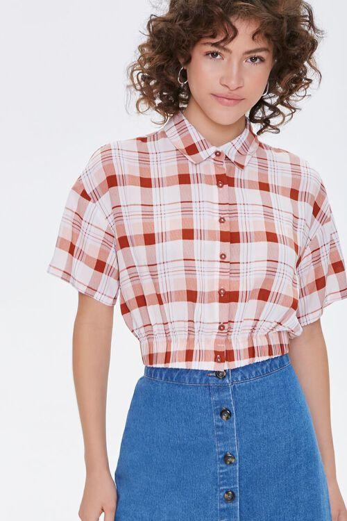 WHITE/RUST Elasticized-Hem Plaid Shirt, image 1