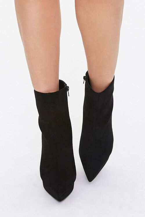 BLACK Faux Suede Stiletto Booties, image 4