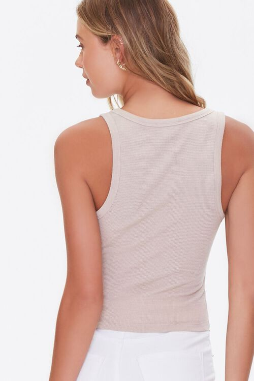 TAUPE Ribbed Knit Tank Top, image 3