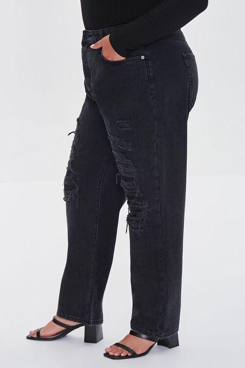 WASHED BLACK Plus Size Boyfriend Jeans, image 3