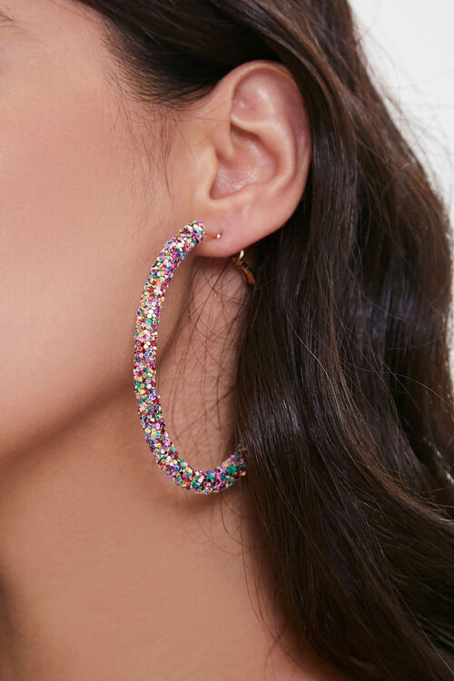 PINK Glitter Hoop Earrings, image 1