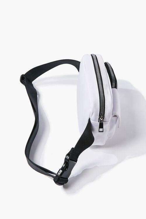 WHITE Nylon Zippered Belt Bag, image 2