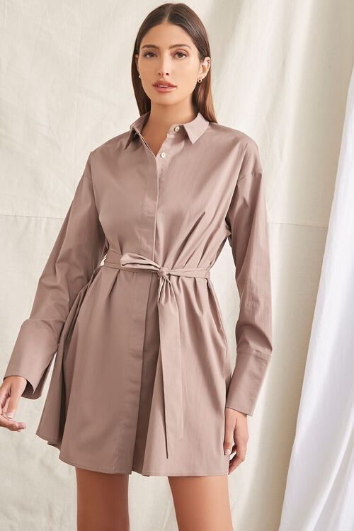 TAUPE Belted Mini Shirt Dress, image 1