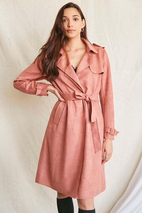 ROSE Faux Suede Duster Trench Jacket, image 1