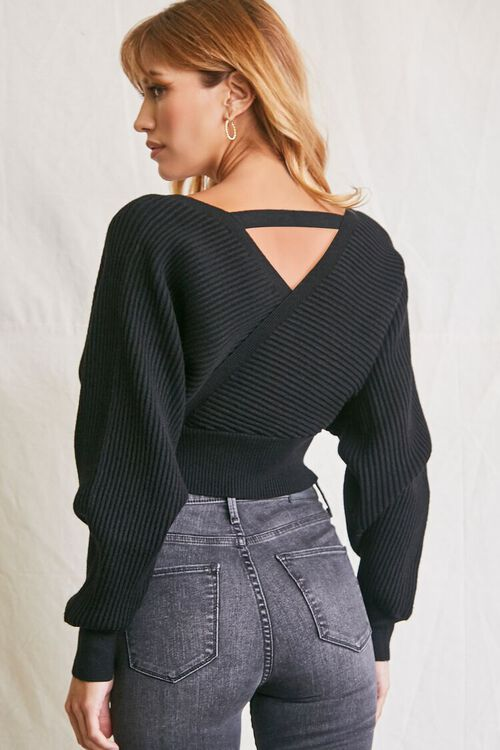 BLACK Ribbed Surplice Sweater, image 3