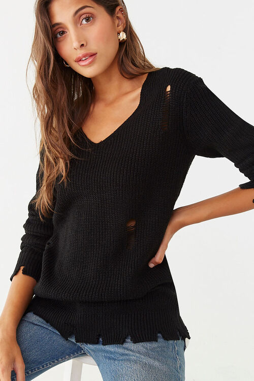 Distressed Ribbed Sweater, image 1
