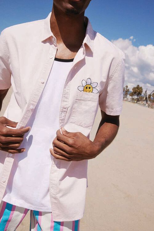 Fitted Embroidered Flower Pocket Shirt, image 1