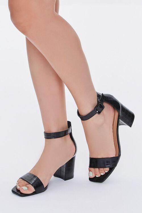 Faux Croc Leather Block Heels, image 1
