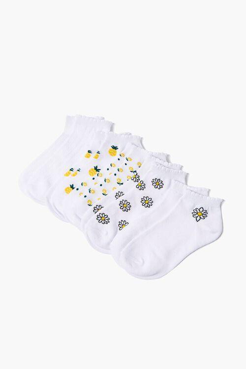 Floral Print Ankle Socks - 5 Pack, image 1