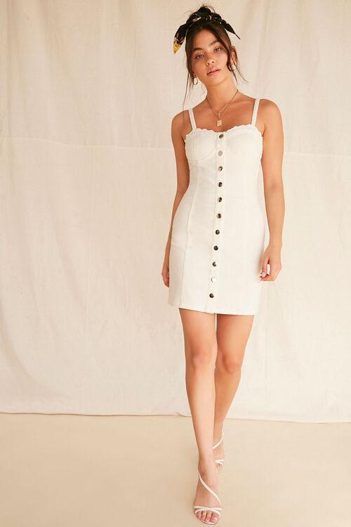 Lace-Trim Buttoned Denim Dress, image 4