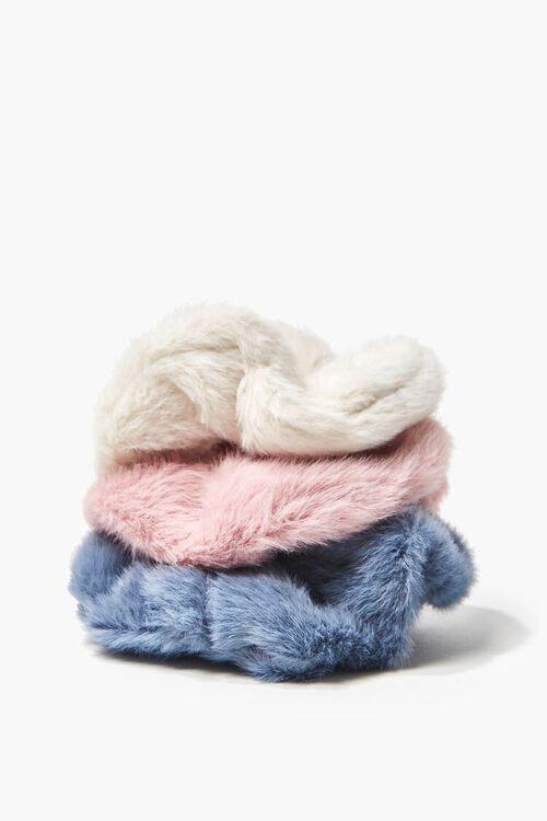 PINK/BLUE Faux Fur Hair Scrunchie Set - 3 pack, image 2
