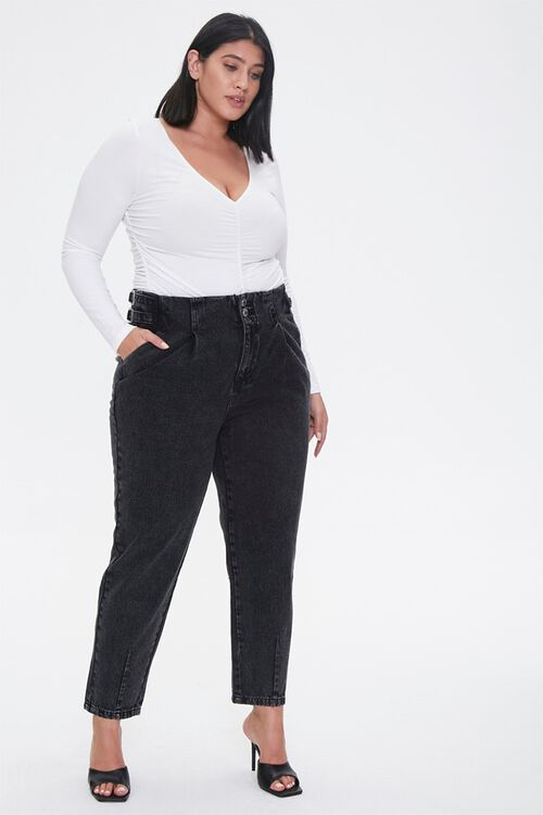 Plus Size Buckled Straight-Leg Jeans, image 5