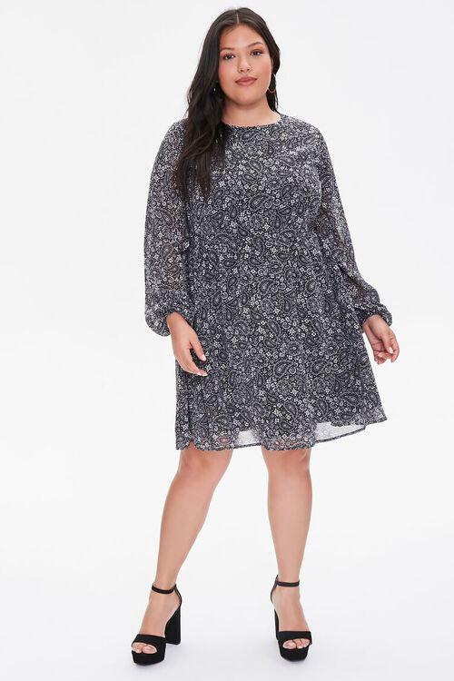 Plus Size Chiffon Paisley Dress, image 4