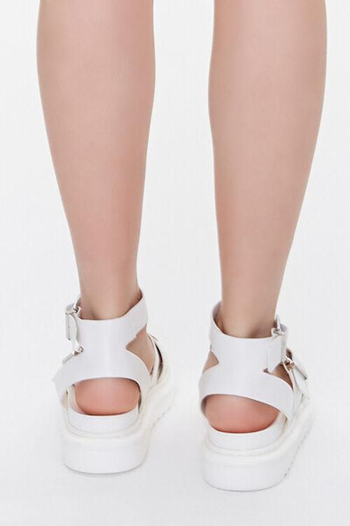 Faux Leather Dual-Buckle Flatform Sandals, image 3