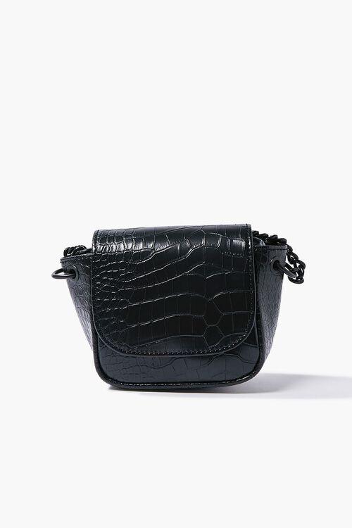 BLACK Faux Croc Leather Crossbody Bag, image 1