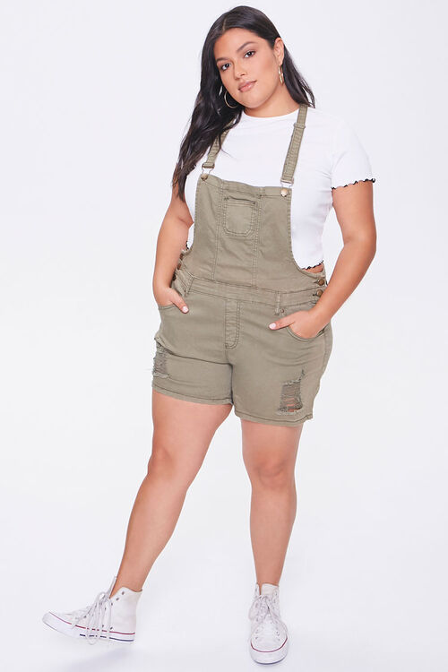 Plus Size Distressed Overall Shorts, image 4
