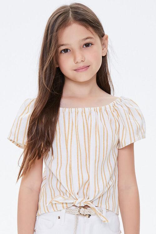 Girls Striped Self-Tie Top (Kids), image 2