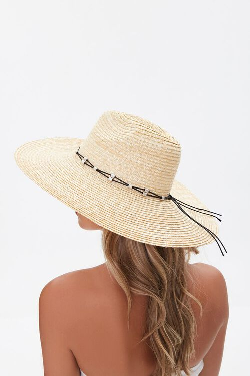 Straw Beaded-Trim Panama Hat, image 1