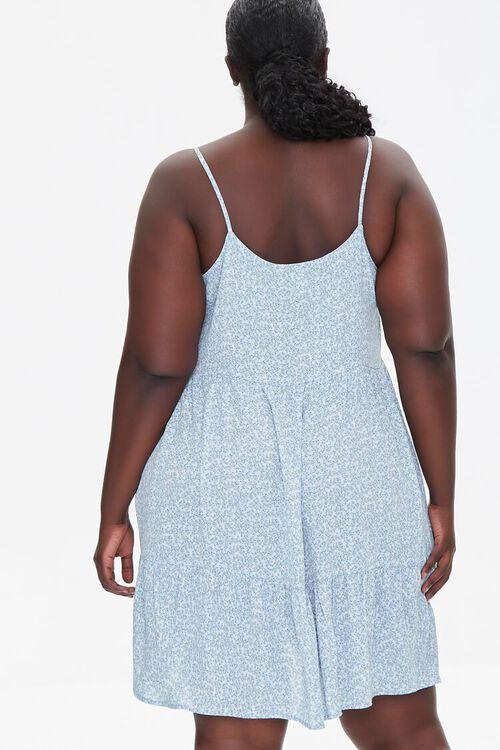 LIGHT BLUE/MULTI Plus Size Floral Print Mini Dress, image 3