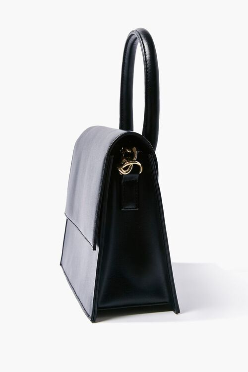 Faux Leather Structured Satchel, image 2