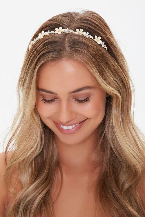 GOLD Floral Embellished Hairband, image 1