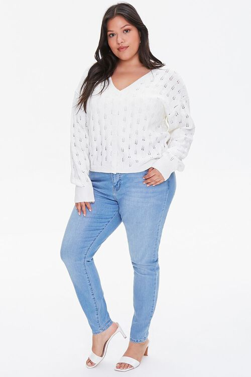 Plus Size Open-Knit Cardigan Sweater, image 4