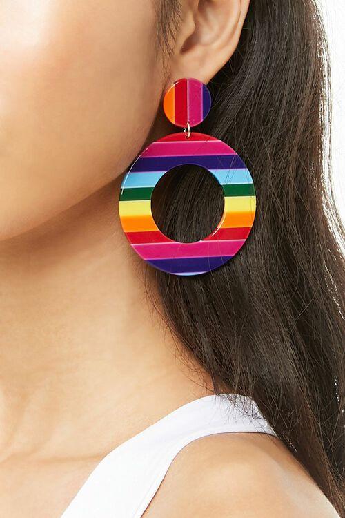 RED/MULTI Multicolor Striped Drop Earrings, image 2