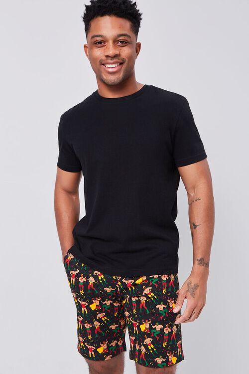 BLACK/MULTI Luchador Print Buttoned Shorts, image 1