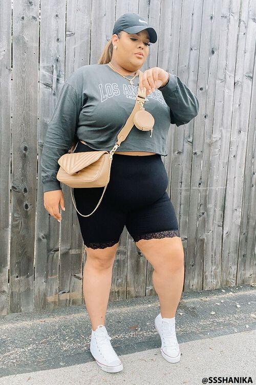 BLACK Plus Size Lace-Trim Biker Shorts, image 1