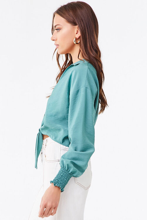 Smocked Self-Tie Buttoned Top, image 2