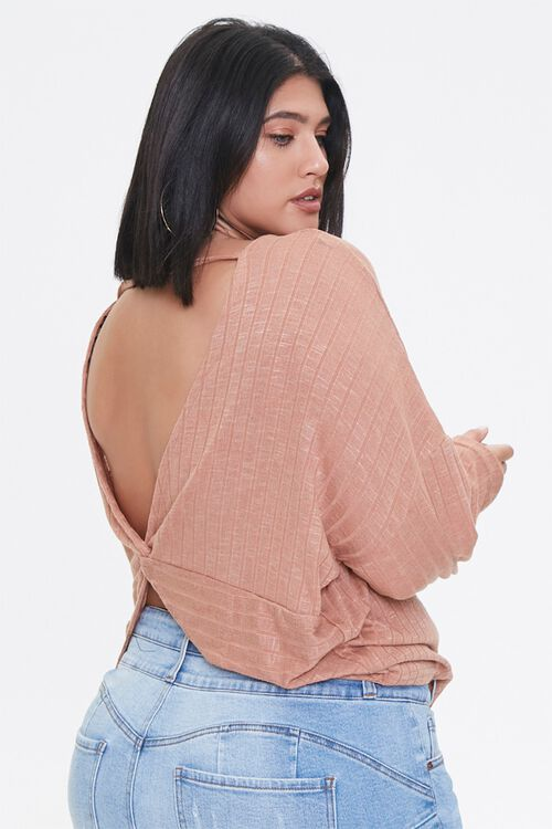 Plus Size Ribbed Twist-Back Top, image 1