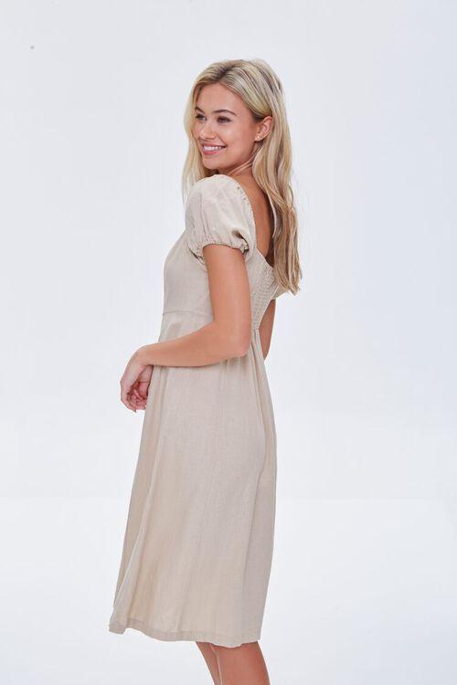 KHAKI Buttoned Puff-Sleeve Dress, image 2