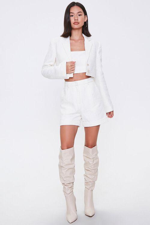 Cropped Tweed Faux Pearl Blazer, image 4