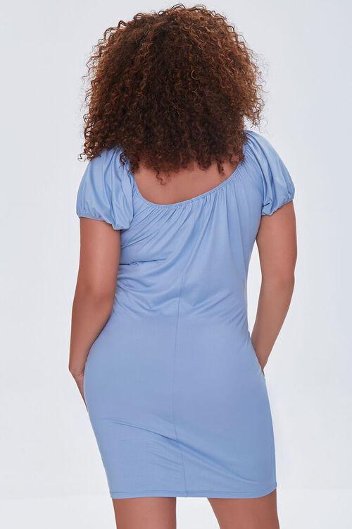 DUSTY BLUE Plus Size Square-Neck Mini Dress, image 3