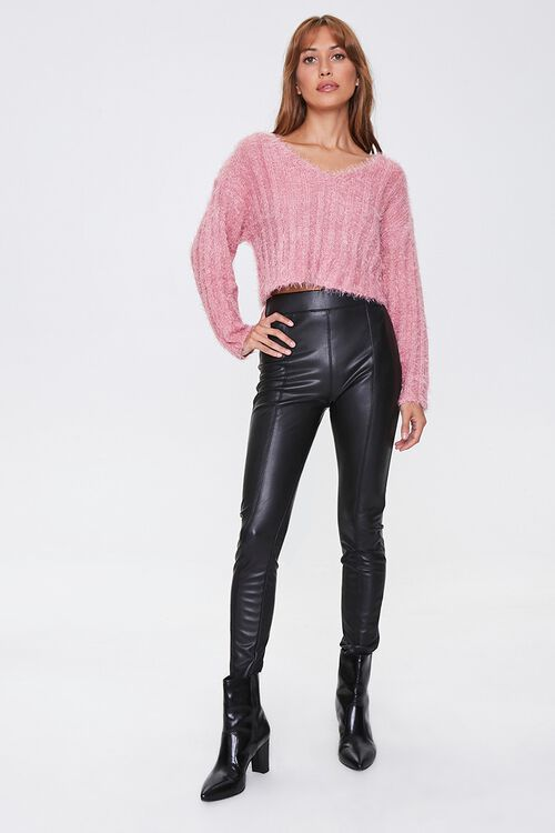 Fuzzy Knit Ribbed Sweater, image 4