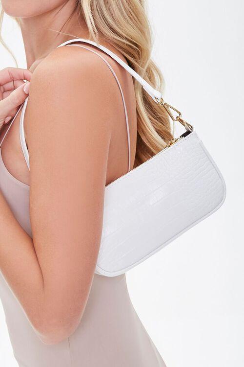 WHITE Faux Patent Croc Leather Shoulder Bag, image 1