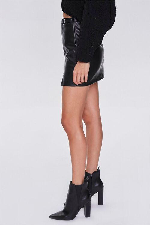 BLACK Faux Leather Mini Skirt, image 3