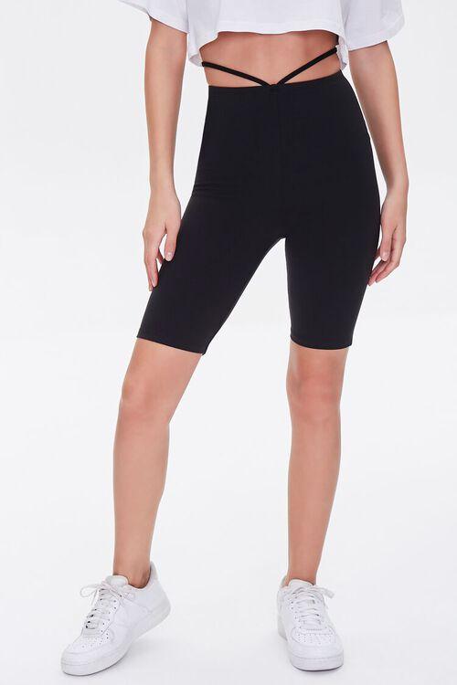 Strappy Cutout Biker Shorts, image 2