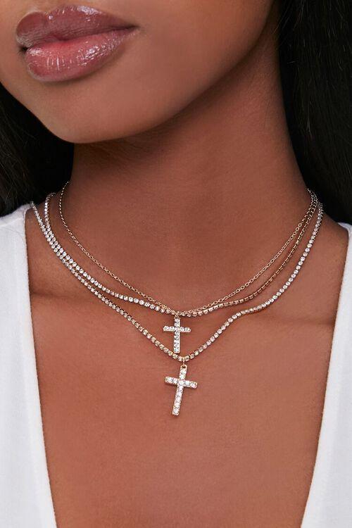 Cross Pendant Layered Necklace Set, image 1