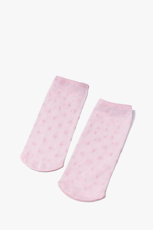Polka Dot Mesh Crew Socks, image 2