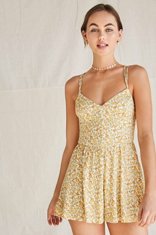 CREAM/YELLOW Floral Strappy-Back Romper, image 2