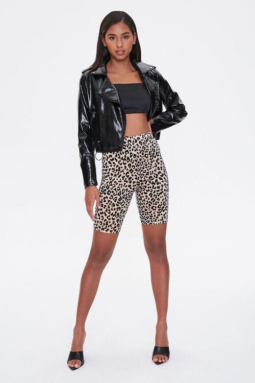 BROWN/BLACK Leopard Print Biker Shorts, image 5