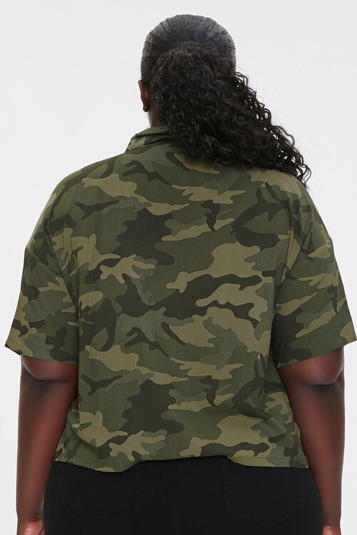 Plus Size Camo Print Shirt, image 3