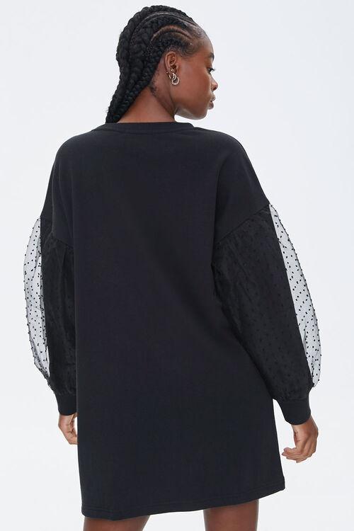 Clip-Dot Balloon-Sleeve Sweatshirt Dress, image 3