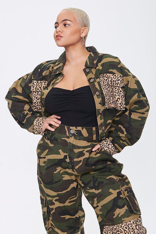 Plus Size Camo Leopard Jacket, image 1