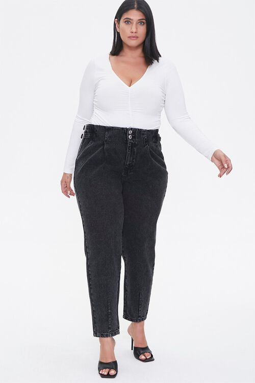 Plus Size Buckled Straight-Leg Jeans, image 1