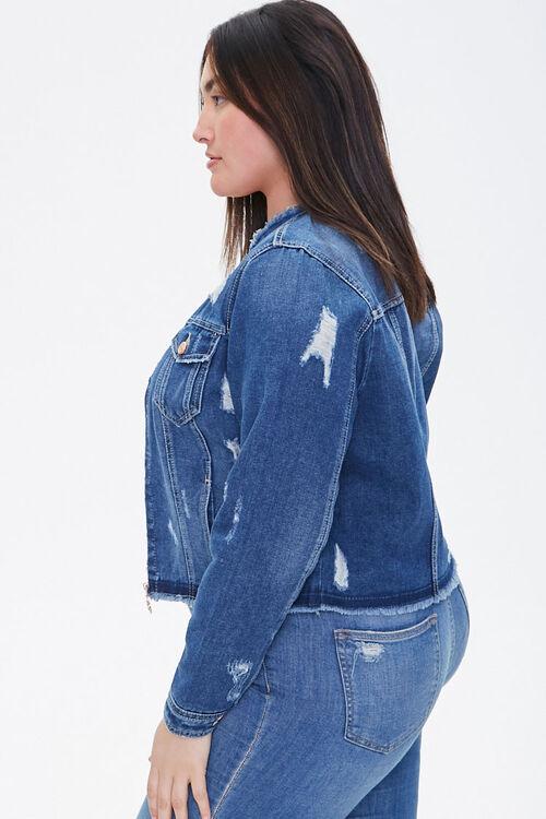 Plus Size Frayed Denim Jacket, image 2